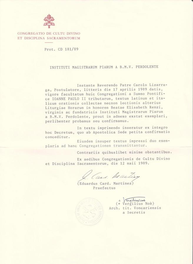 Carta del texto litúrgico